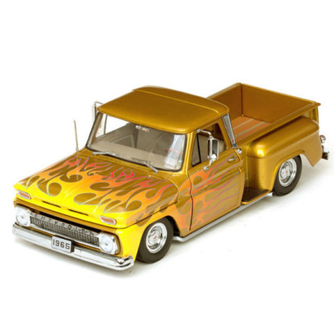 Sun Star 1965 Chevrolet C-10 Stepside Pickup Lowrider Metallic Gold 1/18 - Hobbytoys - 2