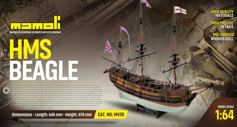 Mamoli 1:64 HMS Beagle - Wood Plank-On-Bulkhead Ship Model Kit