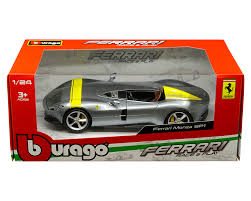 Ferrari Monza SP1 Silver Metallic with Yellow Stripes 1/24 Diecast Model Car by Bburago