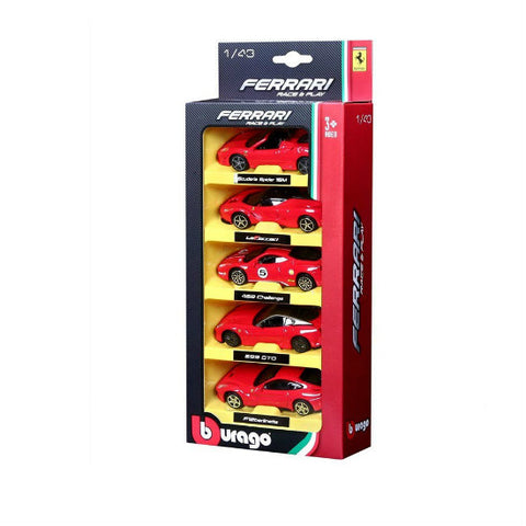 Bburago Ferrari Race & Play 5-Pack 1/43 Diecast Car Set-3 - Hobbytoys