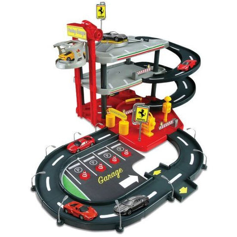 Bburago Ferrari Parking Garage Race Car Trackset - Hobbytoys - 1