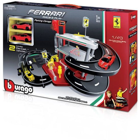 Bburago Ferrari Parking Garage Race Car Trackset - Hobbytoys - 2