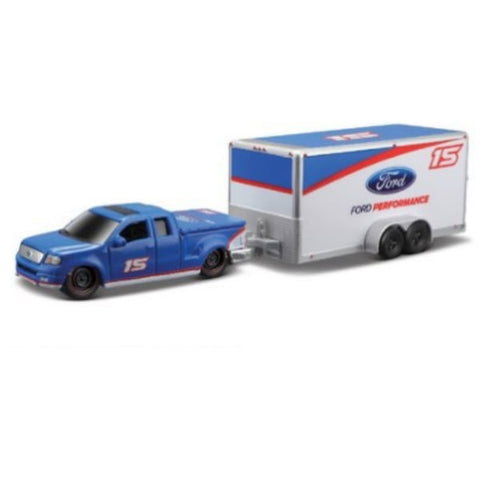 Maisto Tow & Go 2004 Ford F-150 with Car Trailer 1/64