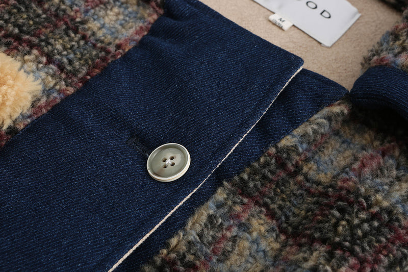 Denim Teddy Bear Coat - Plaid