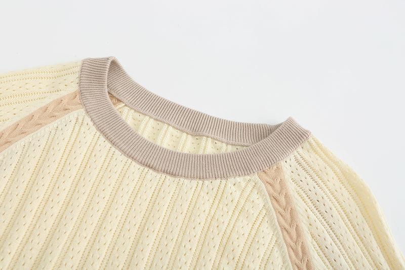 Crew Neck Knit Top - Vanilla