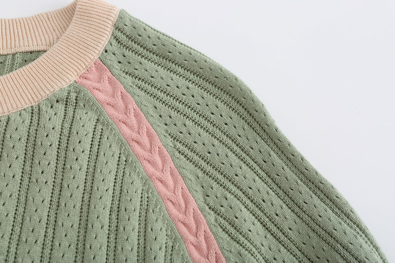 Crew Neck Knit Top - Green Tea