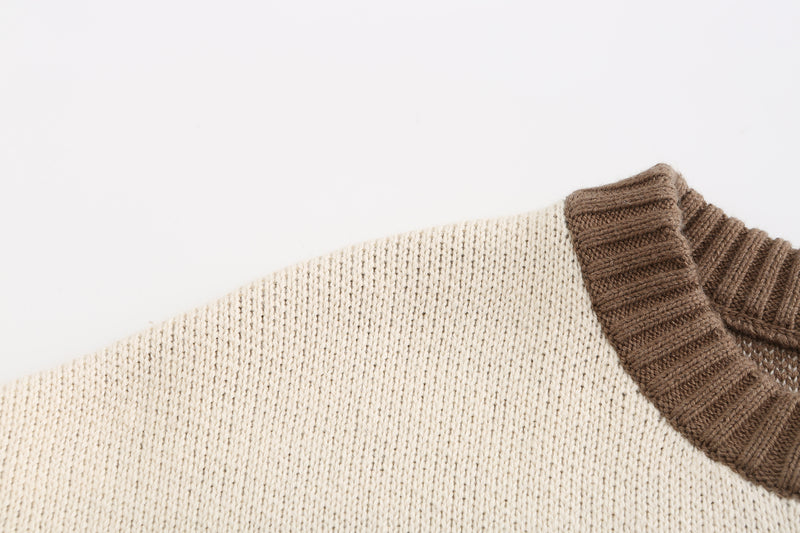 Stitched Patchwork Sweater- Brown