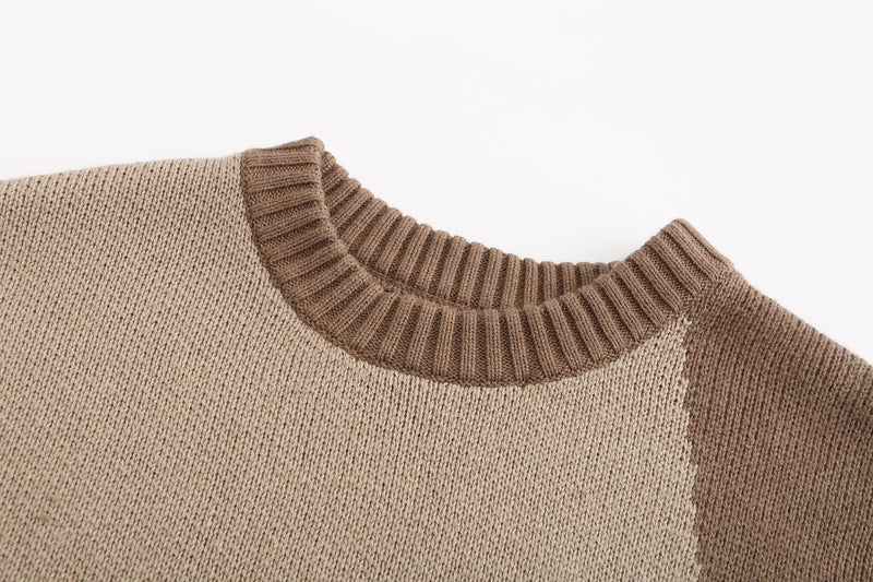 Stitched Patchwork Sweater- Camel