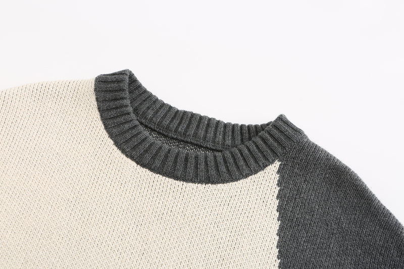 Stitched Patchwork Sweater- Navy