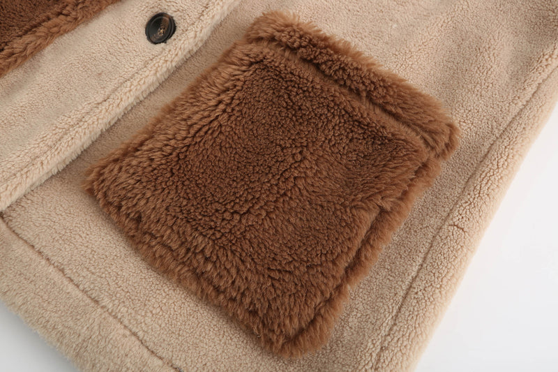 Biker Teddy Bear Coat - Camel