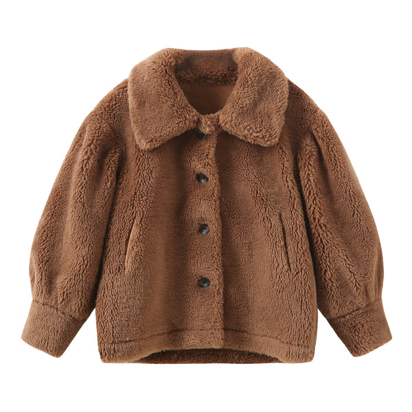 Puff Sleeve Teddy Bear Coat - Brown