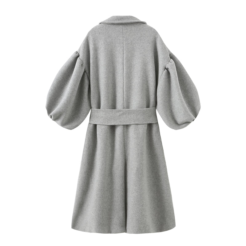 Puff Sleeve Maxi Wool Coat - Grey