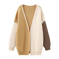 Stitched Patchwork Cardigan - Light