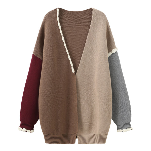 Stitched Patchwork Cardigan - Dark