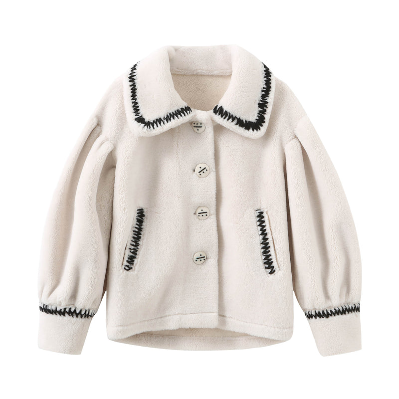 Puff Sleeve Teddy Bear Coat - Black & White