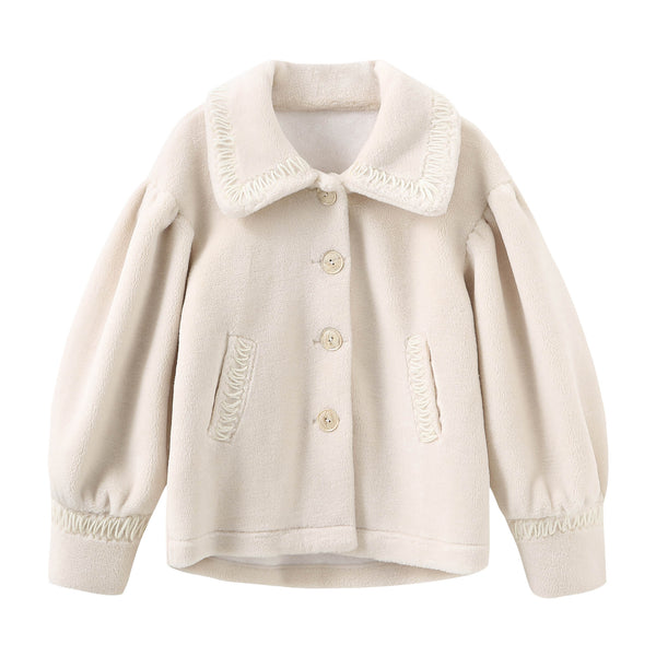 Puff Sleeve Teddy Bear Coat - White