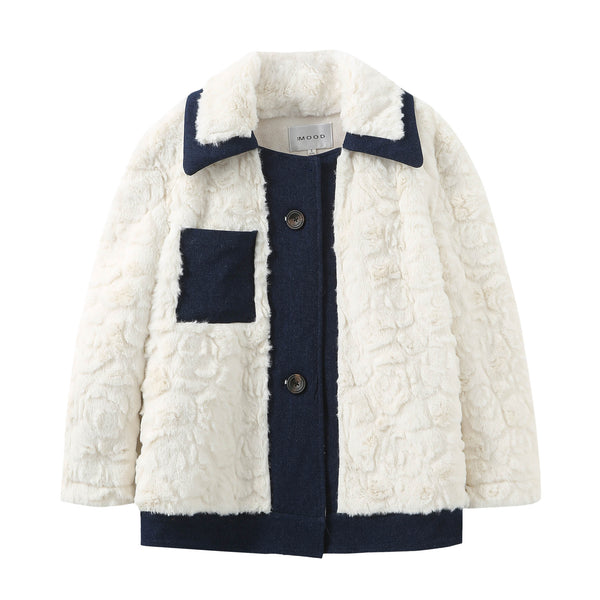 Denim Teddy Bear Coat - White