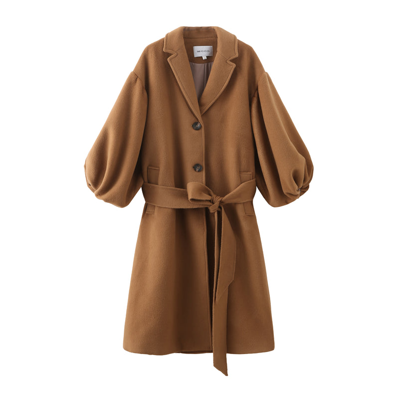 Puff Sleeve Maxi Wool Coat - Camel