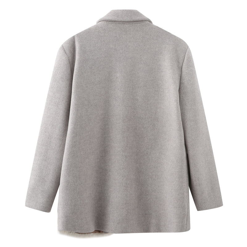 Patched Teddy Wool Coat - Grey