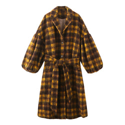 Puff Sleeve Maxi Mohair Coat - Plaid