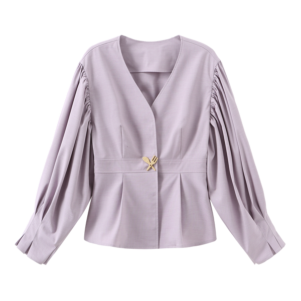 Ruffle Blouse with Tableware Pin - 4 Colors