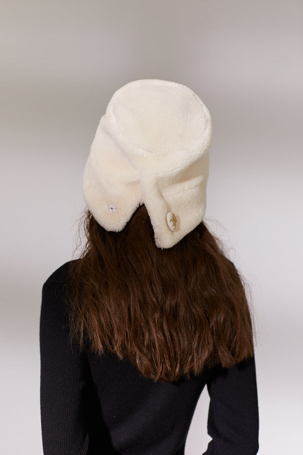 Button Teddy Bucket Hat - Ivory