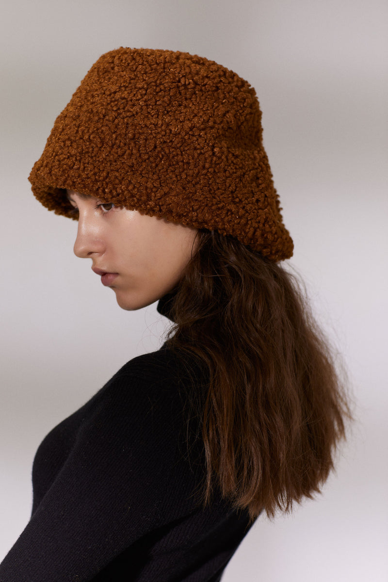 Button Teddy Bucket Hat - Caramel (4107602952288)