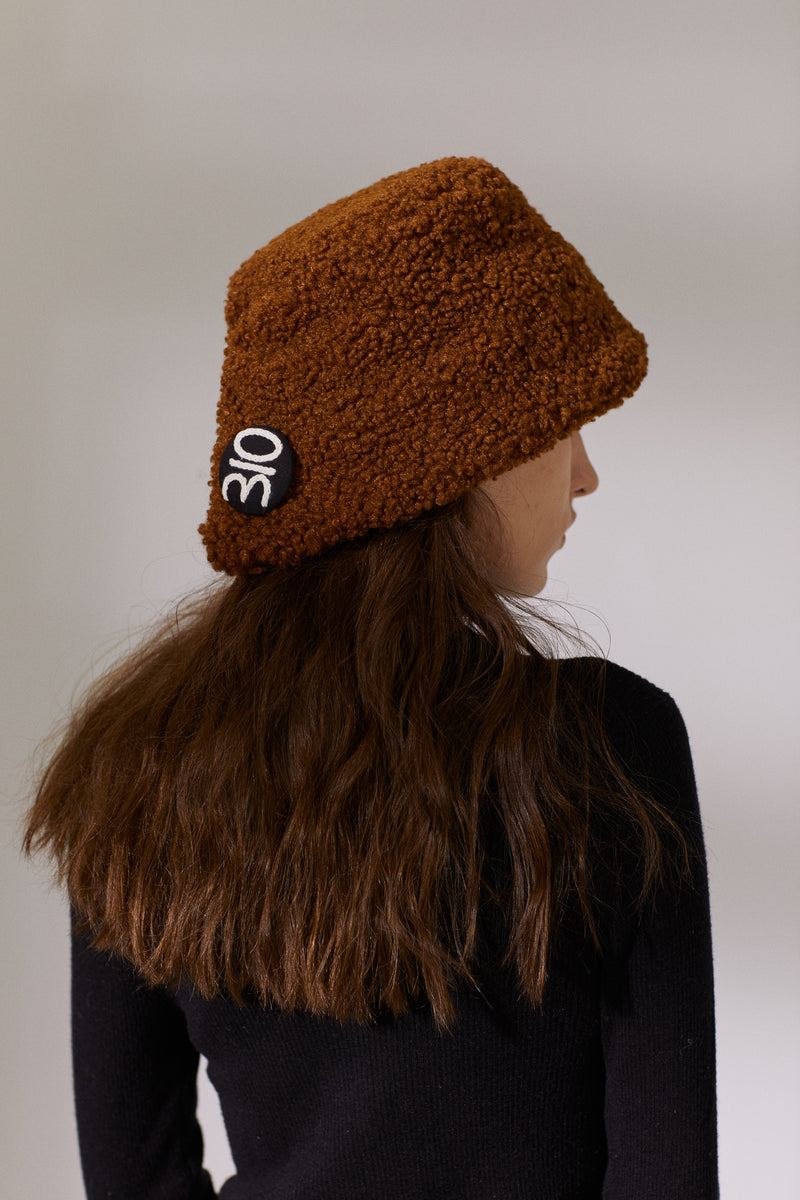 Button Teddy Bucket Hat - Caramel