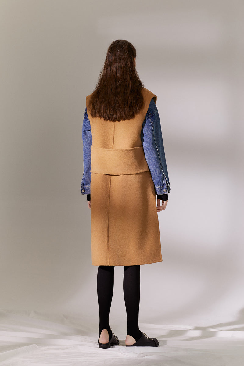 Long Wool Vest - Camel (4107666849888)