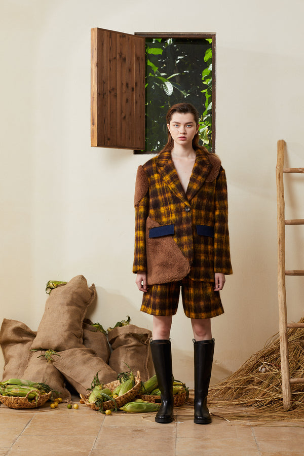 Patched Teddy Wool Coat - Plaid