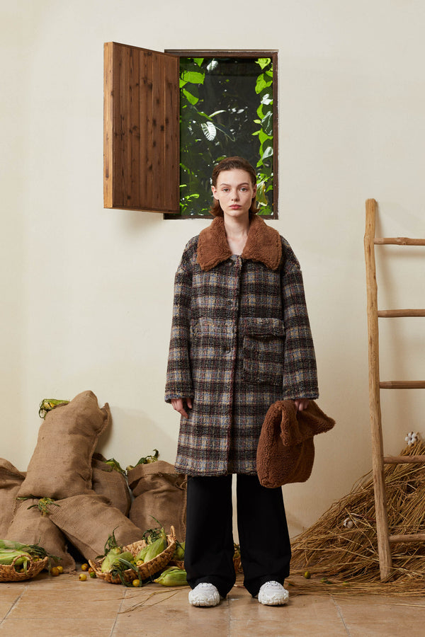 Classic Teddy Bear Coat - Plaid