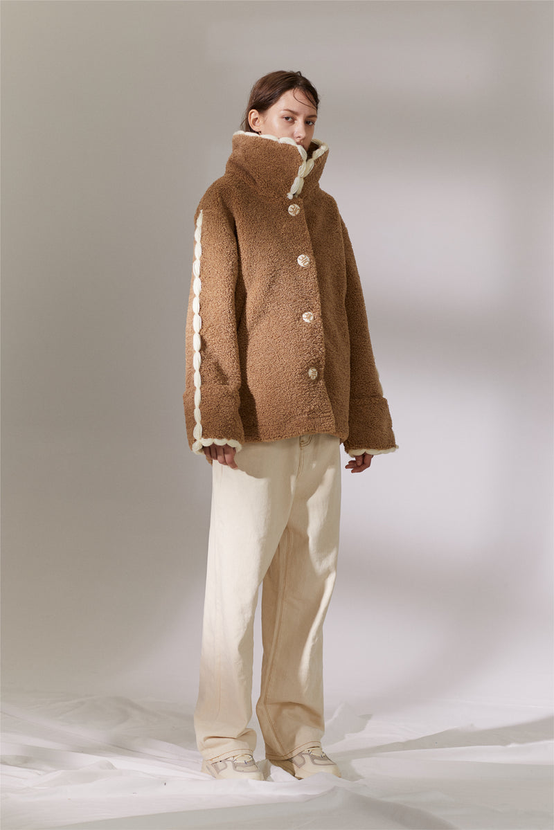 Yarn Teddy Coat - Camel (4259860054112)