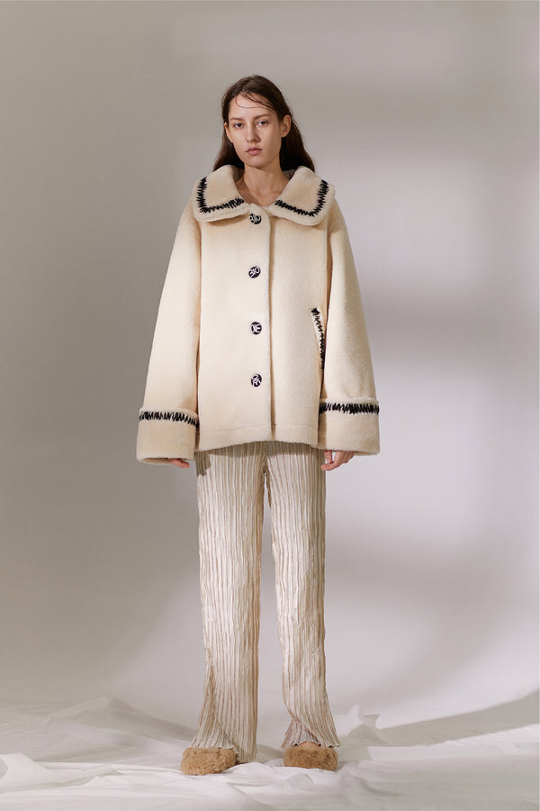 Yarn Teddy Coat - Ivory (4259865133152)