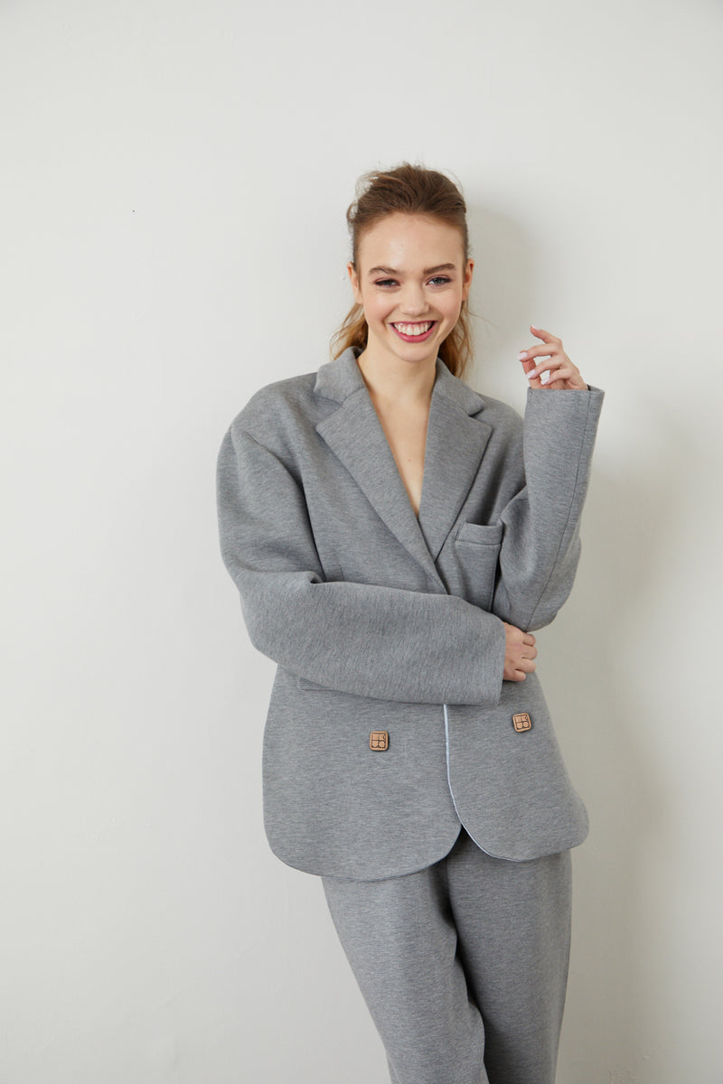 Asymmetric Scuba Blazer Jacket - Grey