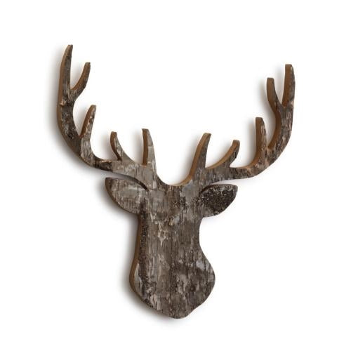 Wood Stag Head Wall Art