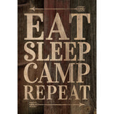 Eat Sleep Camp Repeat Wood Sign