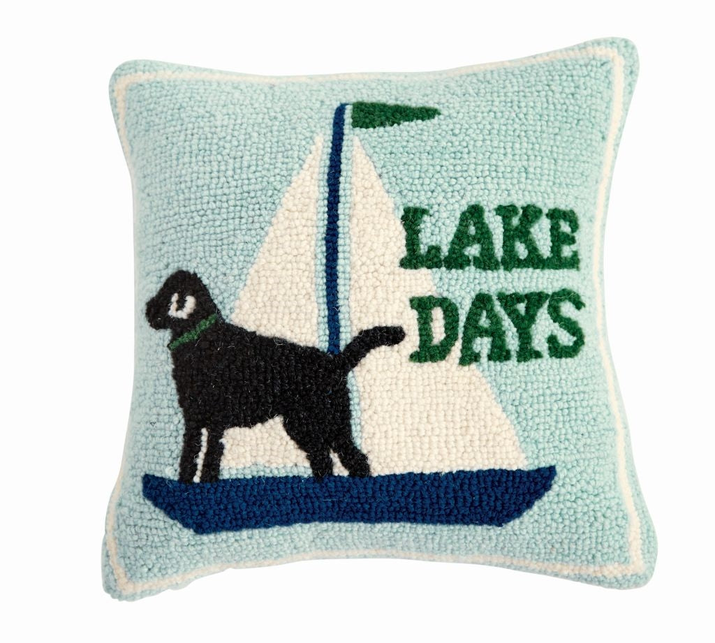 Lake Days Hooked Pillow