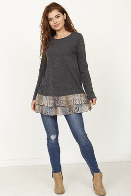 Snake Print Double Layered Tunic (Plus)