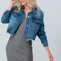 Denim Crop Jacket Raw Edge