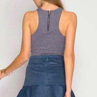 Corduroy Mini Trumpet Skirt with Ruffled Hem