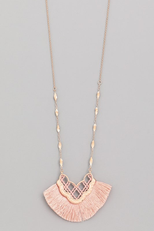 Long Tassel Necklace w/Quatrefoil