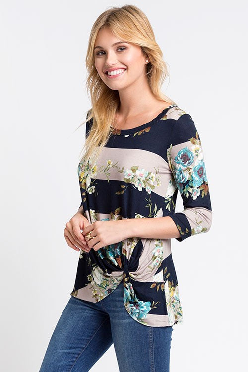 Floral Stripe Twist Hem Top