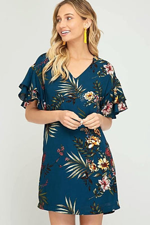 Double Ruffle Sleeve Floral V-Neck Dress