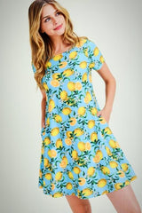 Lemon and Aqua Swing Dress with Pockets