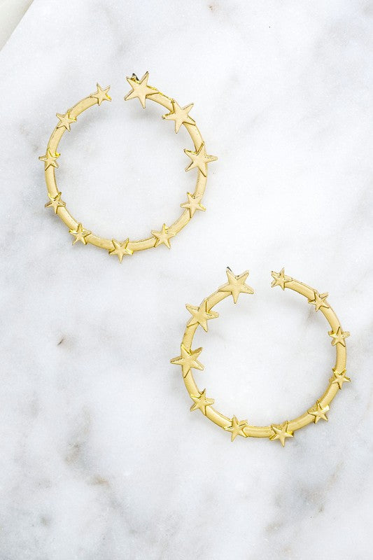 Star Circle Hoop Earrings