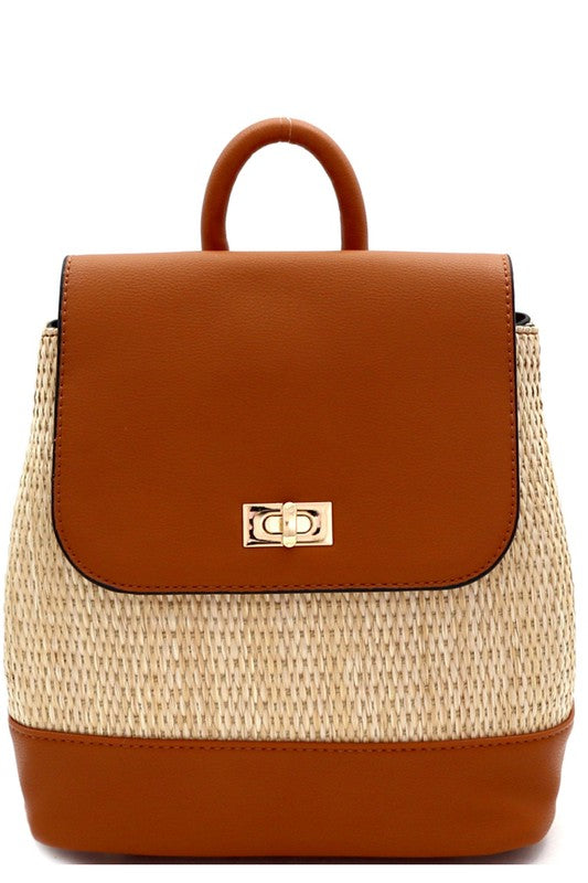 Woven Straw Back Pack Purse