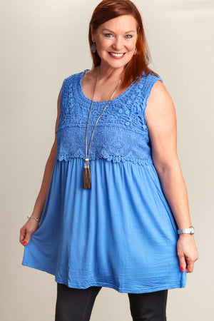 Crochet Pleated Sleeveless Tunic (Plus)