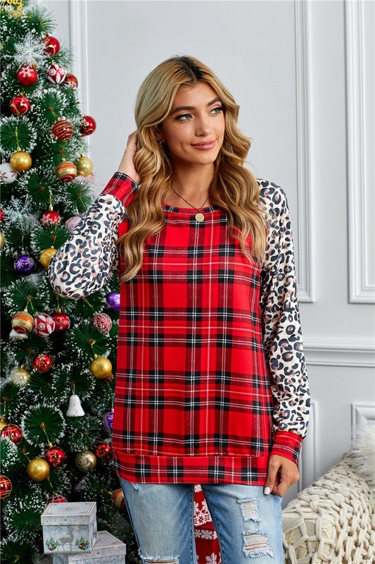 Wild About Plaid Pullover Top