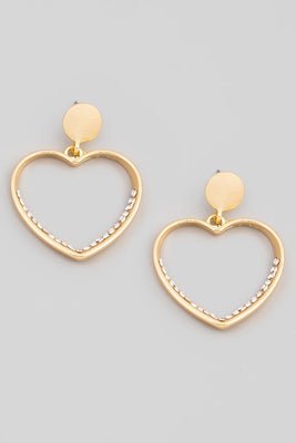 Hearts with Crystal Earrings