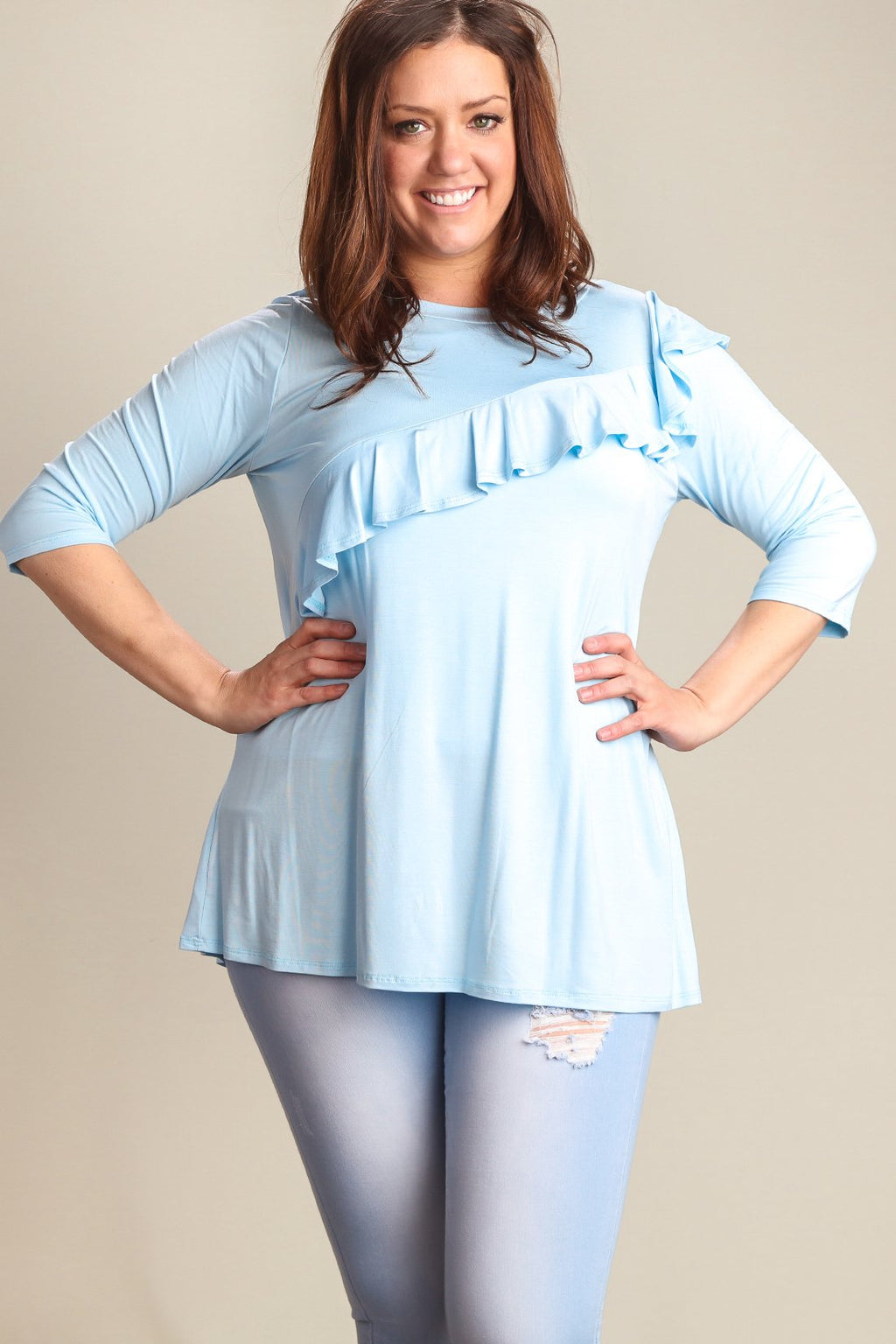 Sky Blue 3/4 Sleeve with Ruffle Accent (Plus)